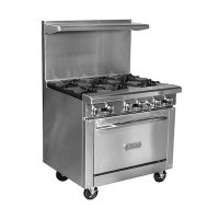 Royal Commercial Gas Range With Griddle RR-G36 - 95,000 BTU/Hr