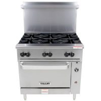 36S-6BN Vulcan Commercial Gas Range with Standard Oven Base 36S-6BN - 215,000 BTU/Hr
