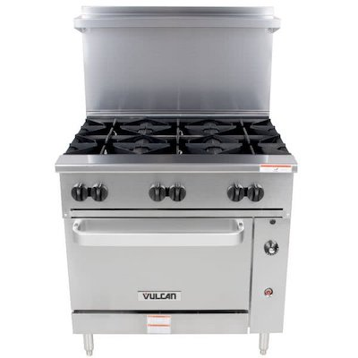 36S-6BP Vulcan Commercial Gas Range with Standard Oven Base 36S-6BP - 176,000 BTU/Hr