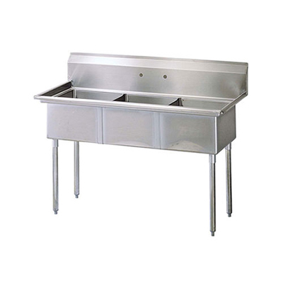 "EFI Three Tub Sink - No Drain Board SI824-3N - 24""x24""x14"""
