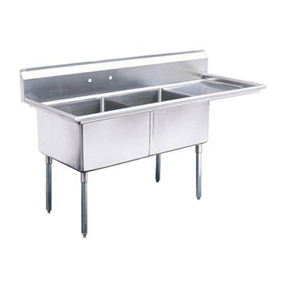 """EFI Two Tub Sink - Right Drain Board SI824-2R - 24""""x24""""x14"""""""