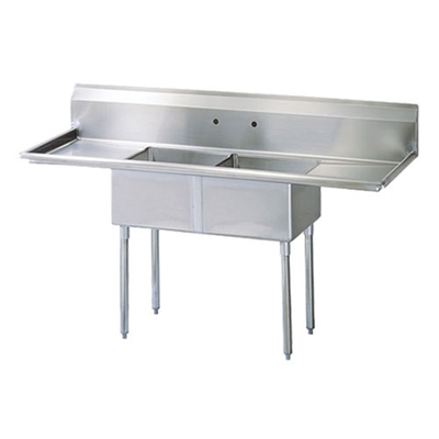 "EFI Two Tub Sink - Two Drain Board SI818-2BC - 18""x18""x11"""
