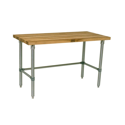 """John Boos Wood Top Work Table with Bracing JNB10 - 30"""" x 72"""", 1.5"""" Thick"""