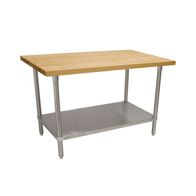 "John Boos Wood Top Work Table with Galvanized Undershelf JNS06 - 24"" x 96"", 1.5"" Thick"