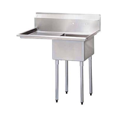 "TSS-1818-L18 Thorinox One Compartment Sink - Left Drain Board TSS-1818-L18 - 18""x18""x11"""