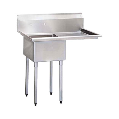 "TSS-1818-R18 Thorinox One Compartment Sink - Right Drain Board TSS-1818-R18 - 18""x18""x11"""