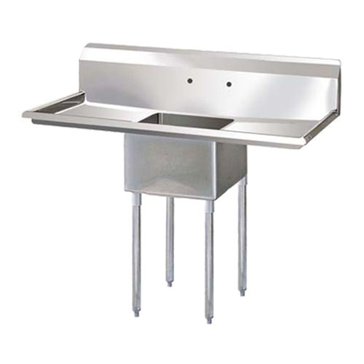 "Thorinox One Compartment Sink - Two Drain Boards TSS-2424-RL24 - 24""x24""x14"""