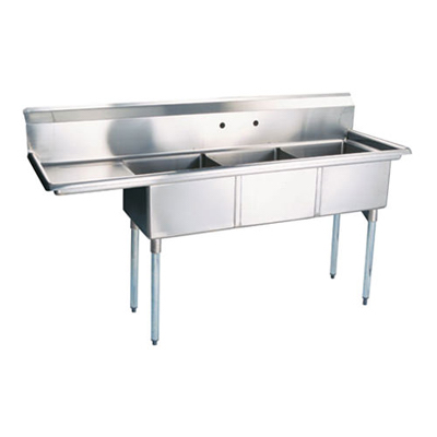 "TTS-1818-L18 Thorinox Three Compartment Sink - Left Drain Board TTS-1818-L18 - 18""x18""x11"""
