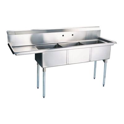 """TTS-2424-L24 Thorinox Three Compartment Sink - Left Drain Board TTS-2424-L24 - 24""""x24""""x14"""""""