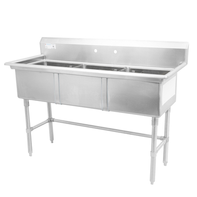 """TTS-1818-0 Thorinox Three Compartment Sink - No Drain Board TTS-1818-0 - 18""""x18""""x11"""""""