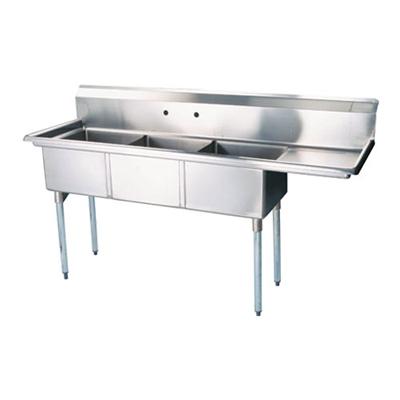 """TTS-2424-R24 Thorinox Three Compartment Sink - Right Drain Board TTS-2424-R24 - 24""""x24""""x14"""""""
