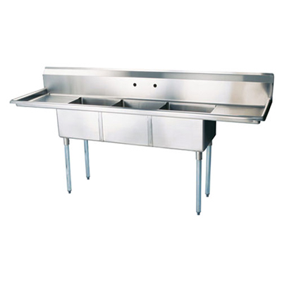 "TTS-2424-RL24 Thorinox Three Compartment Sink - Two Drain Boards TTS-2424-RL24 - 24""x24""x14"""
