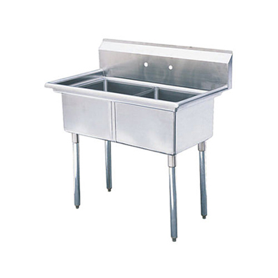"TDS-2424-0 Thorinox Two Compartment Sink - No Drain Board TDS-2424-0 - 24""x24""x14"""