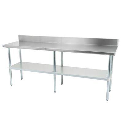 thorinox dsst-2496-bk work table stainless steel with backsplash