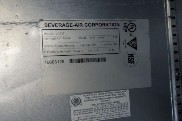 Used Beverage Air Undercounter Freezer UCF27 One Door