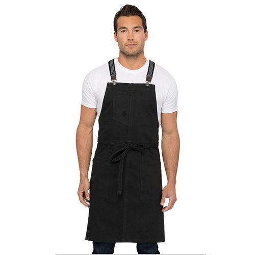 Chefworks ABS01-JBK-0 Berkeley Jet Cotton Bib Apron - Black