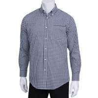Chefworks D500-BWK-L Mens Gingham Dress Shirt - Dark Navy