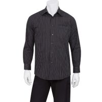 Chefworks D300-CDA-L Mens Onyx Dress Shirt - Black Pinstripe