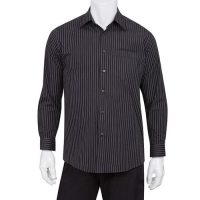 Chefworks D300-CDA-S Mens Onyx Dress Shirt - Pinstripe
