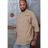 Chefworks S100-KHA-S Poly/cotton Lite Twill Chef Shirt - Khaki