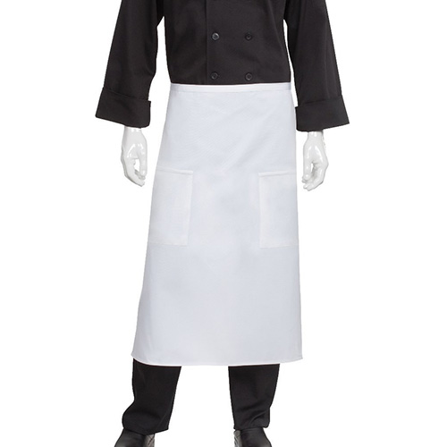 Chefworks 122A-WHT Two Pocket Bistro Apron - White