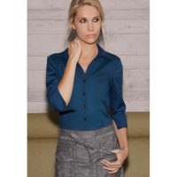 Chefworks WA34-BLU-L Womens Finesse 3/4-sleeve Fitted Shirt - Blue