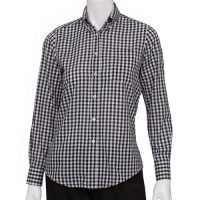 Chefworks W500-BWK-S Womens Gingham Dress Shirt - Dark Navy
