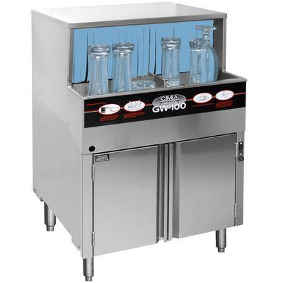 cma gw-100 rotary glasswasher with glasses