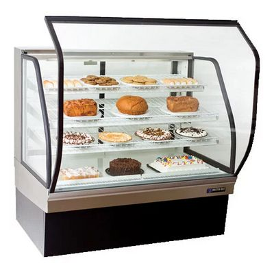 master-bilt cgb-77 floor display refrigerator curved door open