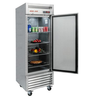 new air nsr-061-h reach in refrigerator solid door door open