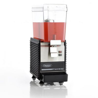 omega osd10 beverage dispenser filled with juice