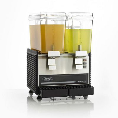 omega osd20 beverage dispenser filled with juice