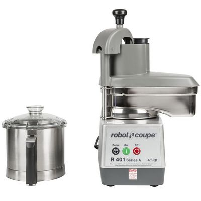 robot coupe r401 food processor stainless steel bowl front view