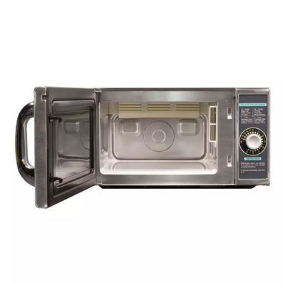 sharp r-21lcf moderate duty commercial microwave oven door open
