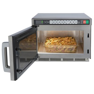 sharp r-cd1200m heavy duty commercial microwave oven door open