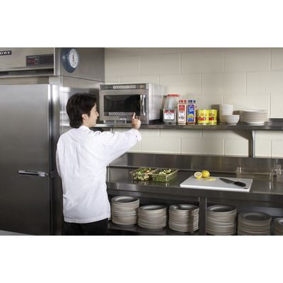 sharp r-cd2200m heavy duty commercial microwave oven in kitchen