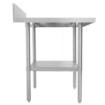 thorinox dsst-2448-bkss stainless steel work table with back splash side view