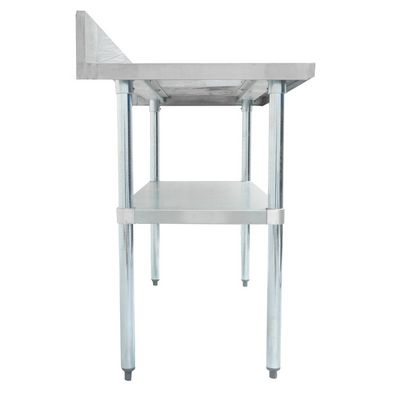 thorinox dsst-2460-bk stainless steel work table with back splash side view