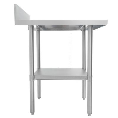 thorinox dsst-2484-bkss stainless steel work table with back splash side view