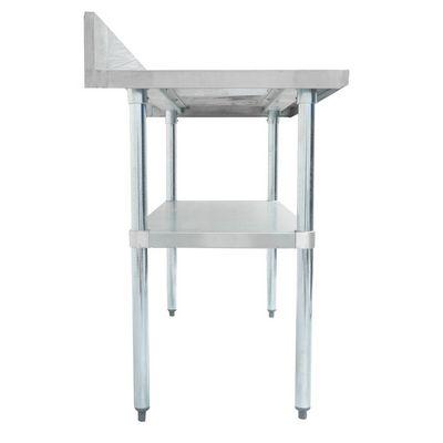 thorinox dsst-3030-bk stainless steel work table with back splash side view