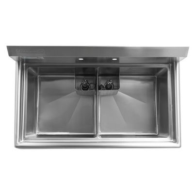 thorinox tds-1818-0 two compartment sink no drain board top view