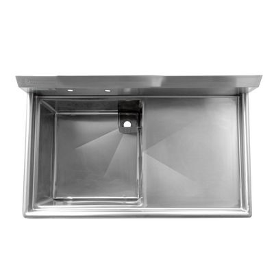 thorinox tss-2424-r24 one compartment sink right drain board top view