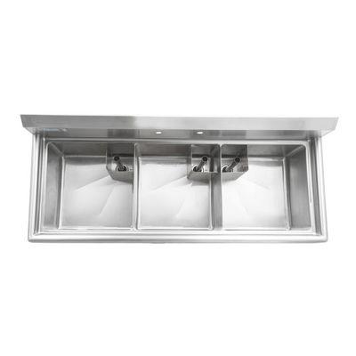 thorinox tts-1818-0 three compartment sink no drain board top view