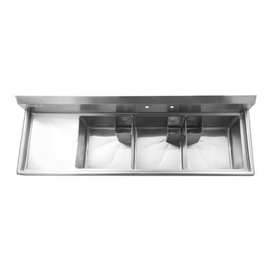 thorinox tts-1818-l18 three compartment sink left drain board top view