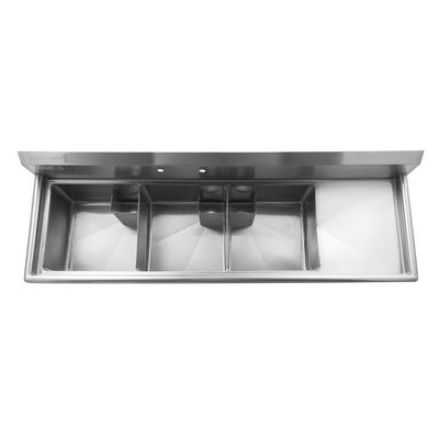 thorinox tts-1818-r18 three compartment sink right drain board top view