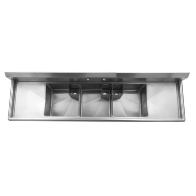 thorinox tts-1818-rl18 three compartment sink two drain board top view
