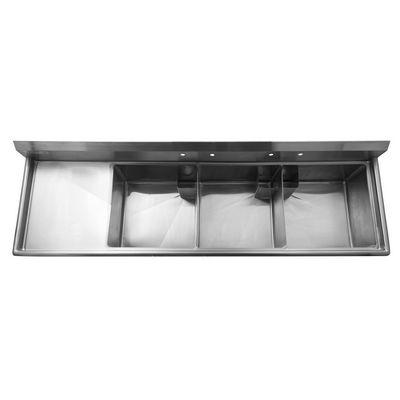 thorinox tts-2424-l24 three compartment sink left drain board top view