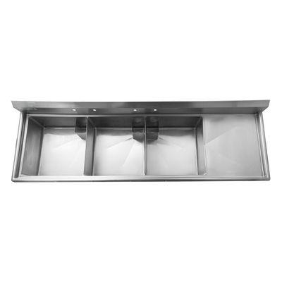 thorinox tts-2424-r24 three compartment sink right drain board top view