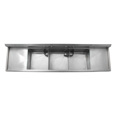 thorinox tts-2424-rl24 three compartment sink two drain board top view