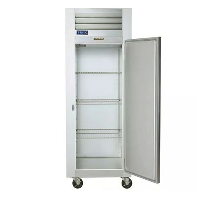 traulsen g10010 one section reach in refrigerator solid door door open